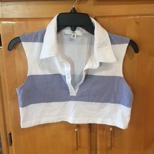 Cropped striped rugby style shirt